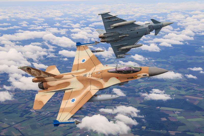 Israeli F-16C 'Barak' + German EF-2000 [German Air Force via Twitter]