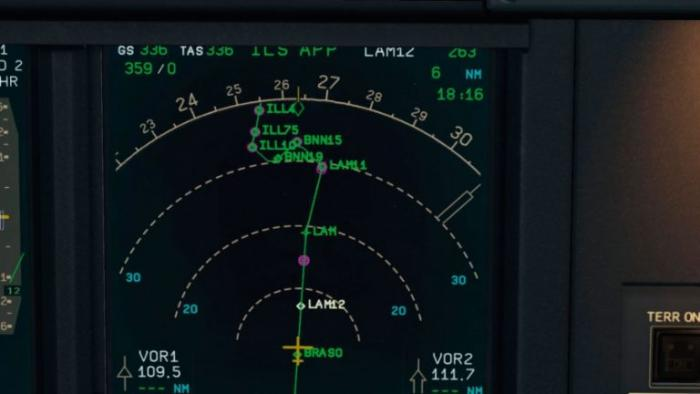 No constraint information is displayed on the ND. The purple rings should be accompanied by altitude or speed information